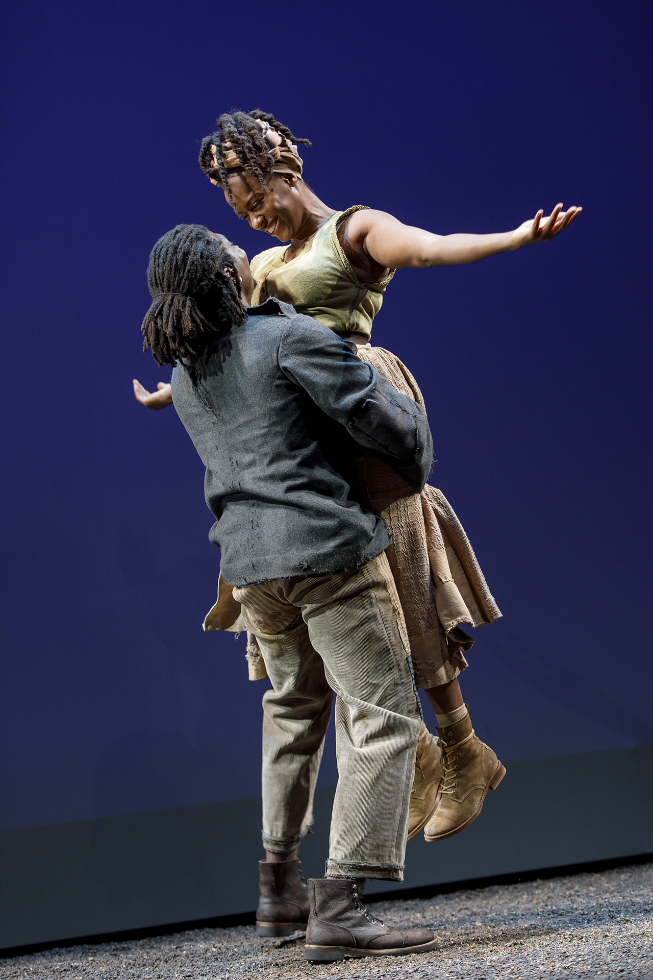 James Udom and Eboni Flowers in Father Comes Home From the Wars, Parts 1, 2 & 3 by Suzan-Lori Parks, directed by Liz Diamond. Photo by Joan Marcus, 2018.
