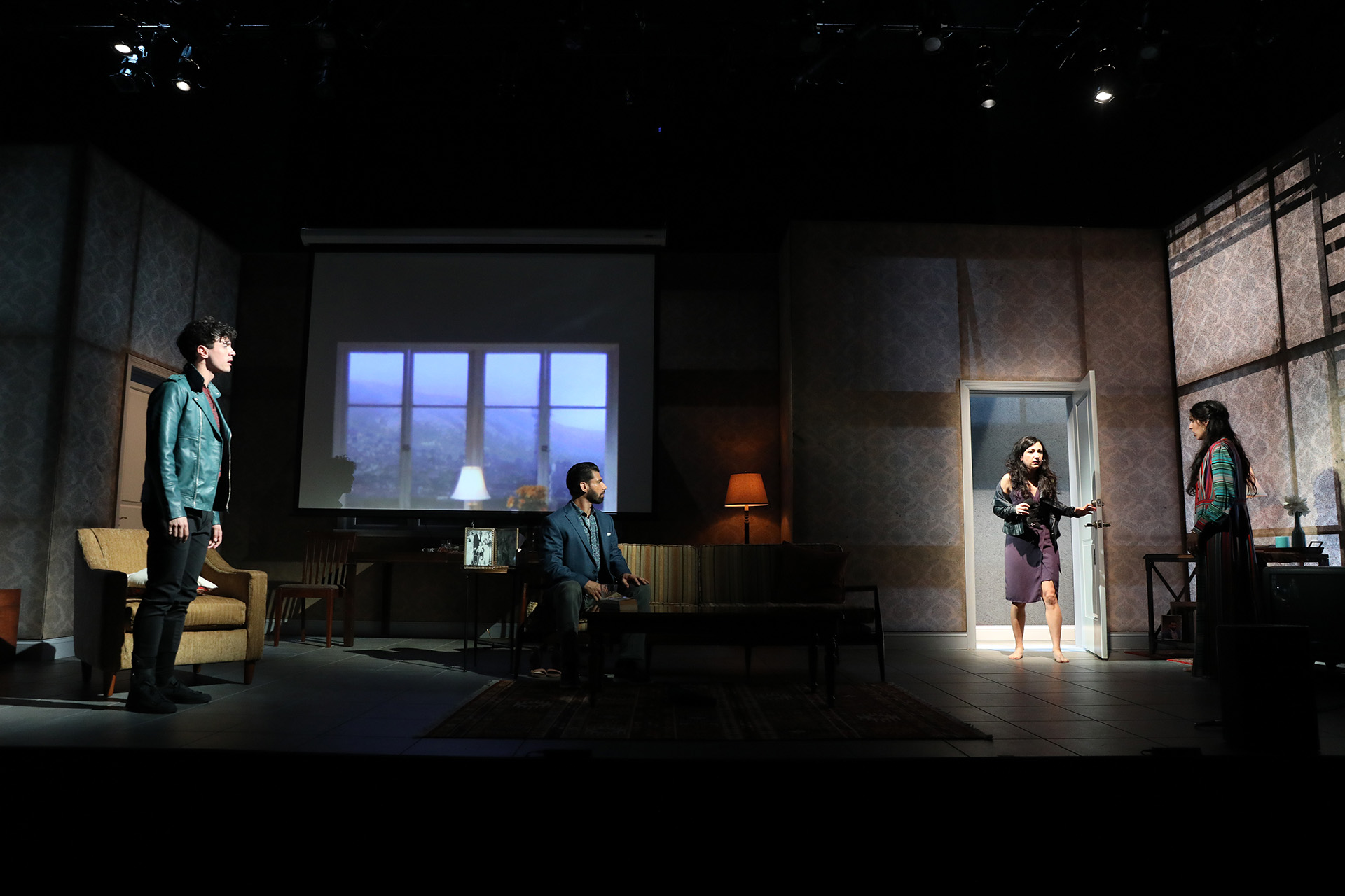 KISS by Guillermo Calderón, directed by Evan Yionoulis (Faculty), scenic design by Ao Li ('18), costume design by Cole McCarty ('18), lighting design by Erin Fleming ('18), projection design by Wladamiro A. Woyno R. ('18), Yale Repertory Theatre, 2018. Photo by Joan Marcus.
