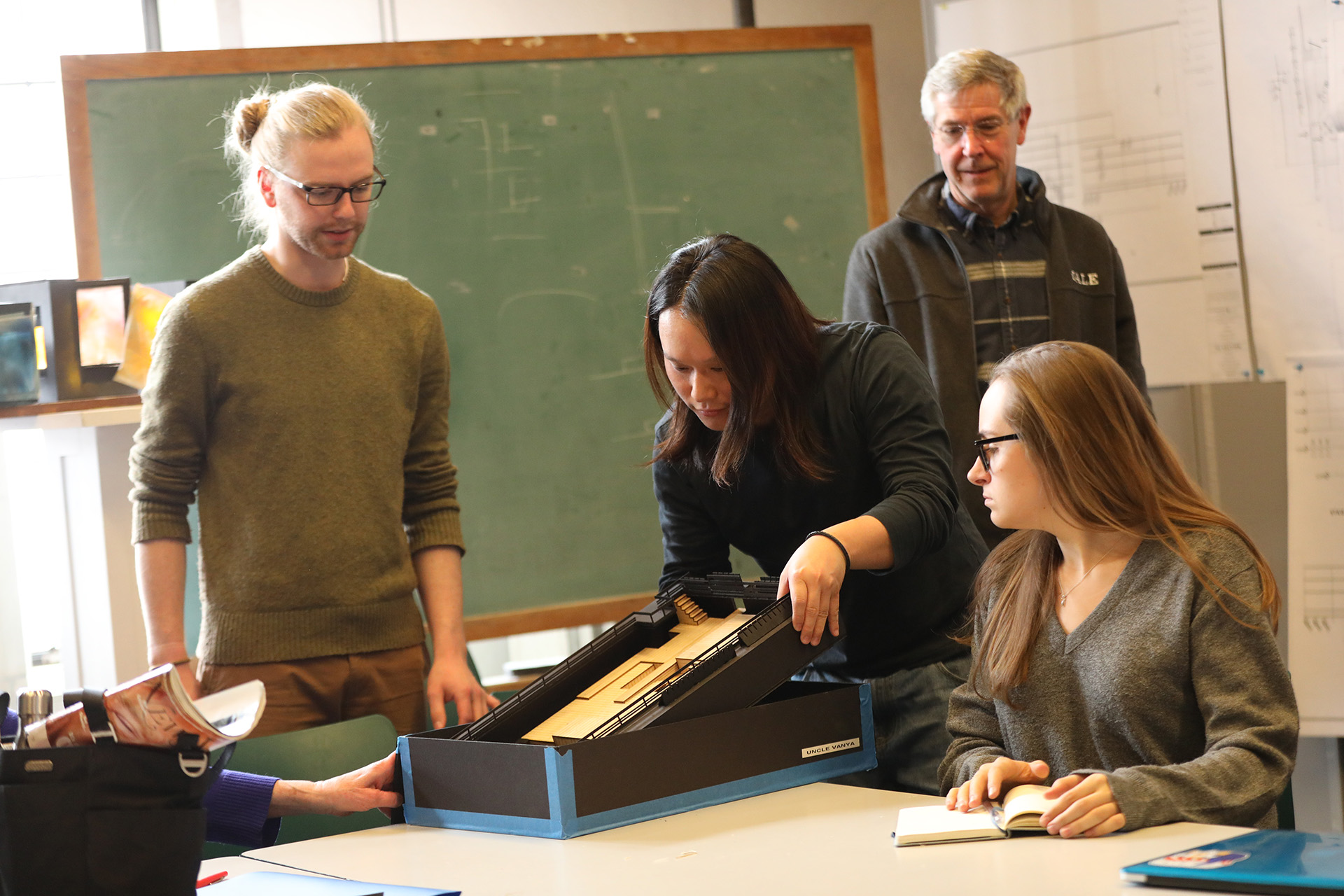 Nic Vincent ('19), Samuel Kwan Chi Chan ('19), and Riva Fairhall ('21) in design class with Stephen Strawbridge (Co-Chair), Yale School of Drama, 2018. Photo by Joan Marcus.