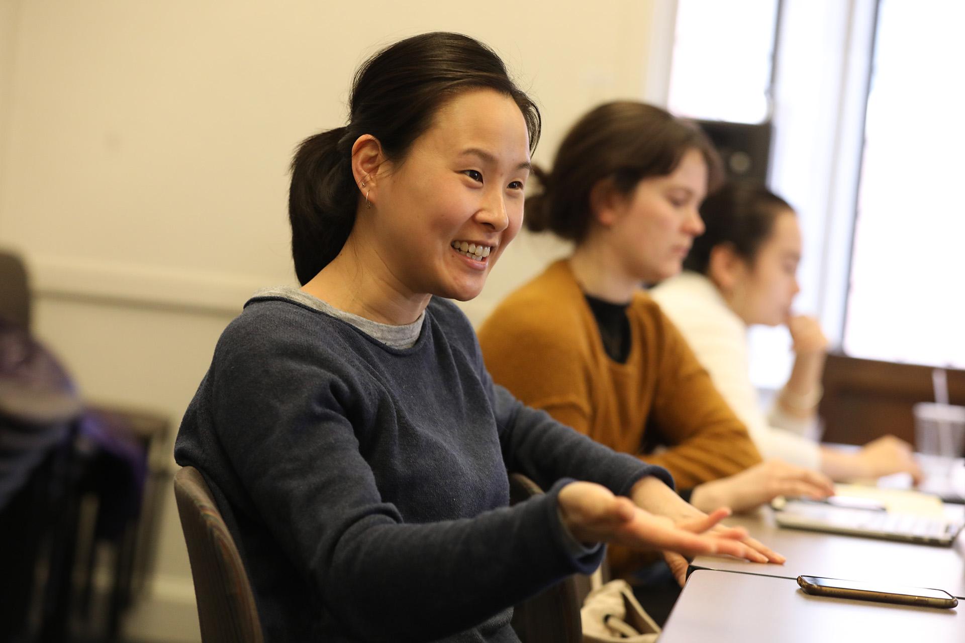 Alicia Austin ('20) in design class, Yale School of Drama, 2018. Photo by Joan Marcus.