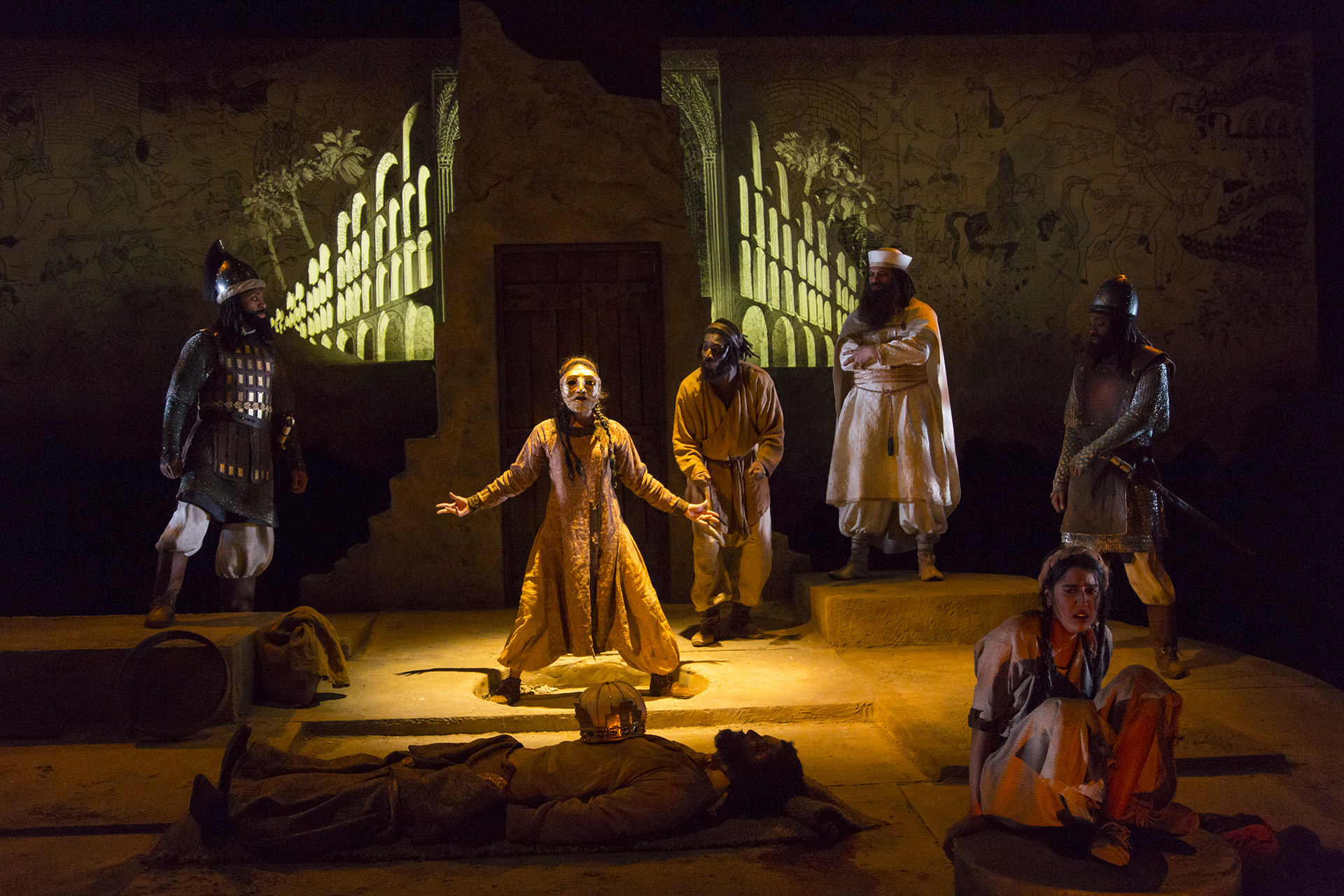 DEATH OF YAZDGERD by Bahram Beyzai, translated by Manuchehr Anvar, directed by Shadi Ghaheri ('18), scenic design by John Bondi-Ernoehazy ('19), costume design by Mika H. Eubanks ('19), lighting design by Samuel Kwan Chi Chan ('19), projection design by Yaara Bar ('19), Yale School of Drama, 2017. Photo by T. Charles Erickson.