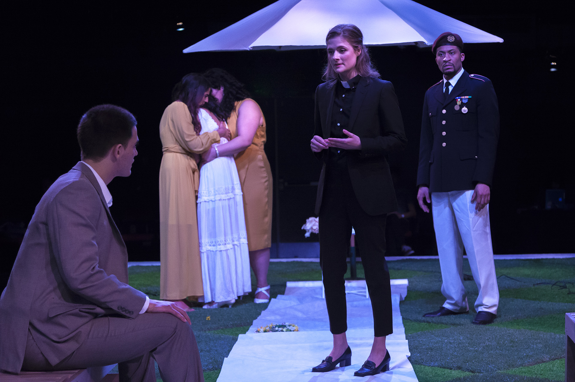 MUCH ADO ABOUT NOTHING by William Shakespeare, directed by Jecamiah M. Ybañez ('19), scenic design by Stephanie Osin Cohen ('19), costume design by Sophia Choi ('18), lighting design by Evan Anderson ('20), Yale School of Drama, 2018. Photo by Brittany Bland ('19).