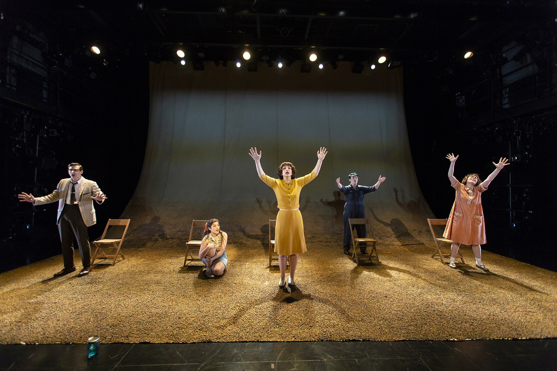 TENT REVIVAL by Majkin Holmquist ('18), directed by Rory Pelsue ('18), scenic design by Gerardo Díaz Sánchez ('19), costume design by Mika H. Eubanks ('19), lighting design by Samuel Kwan Chi Chan ('19), projection design by Brittany Bland ('19), Yale School of Drama, 2018. Photo by T. Charles Erickson.
