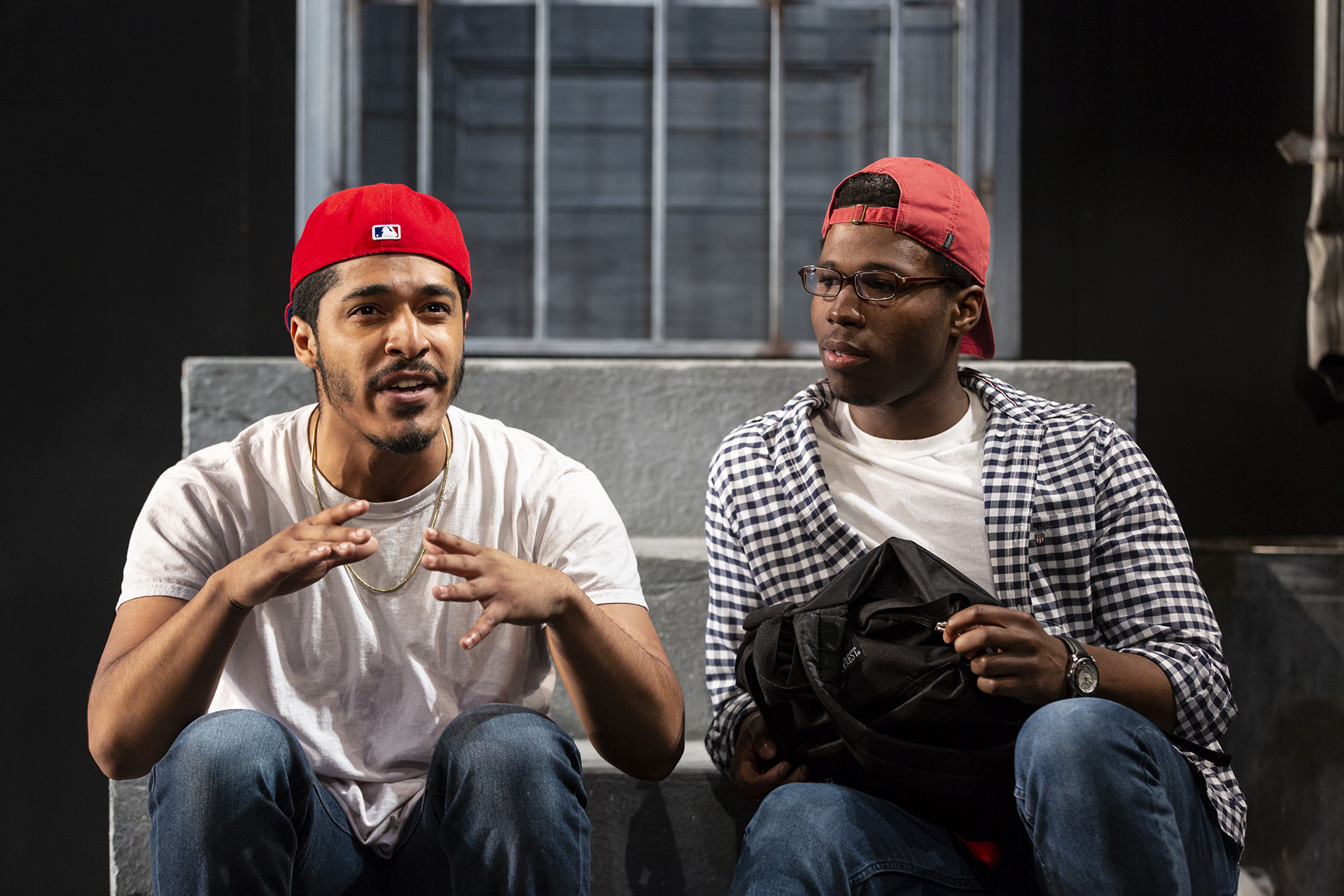 Robert Hart ('20) and Jakeem Powell ('19)  in MARTY AND THE HANDS THAT COULD by Josh Wilder ('18), directed by Lucie Dawkins ('18), Yale School of Drama, 2018. Photo by T. Charles Erickson.