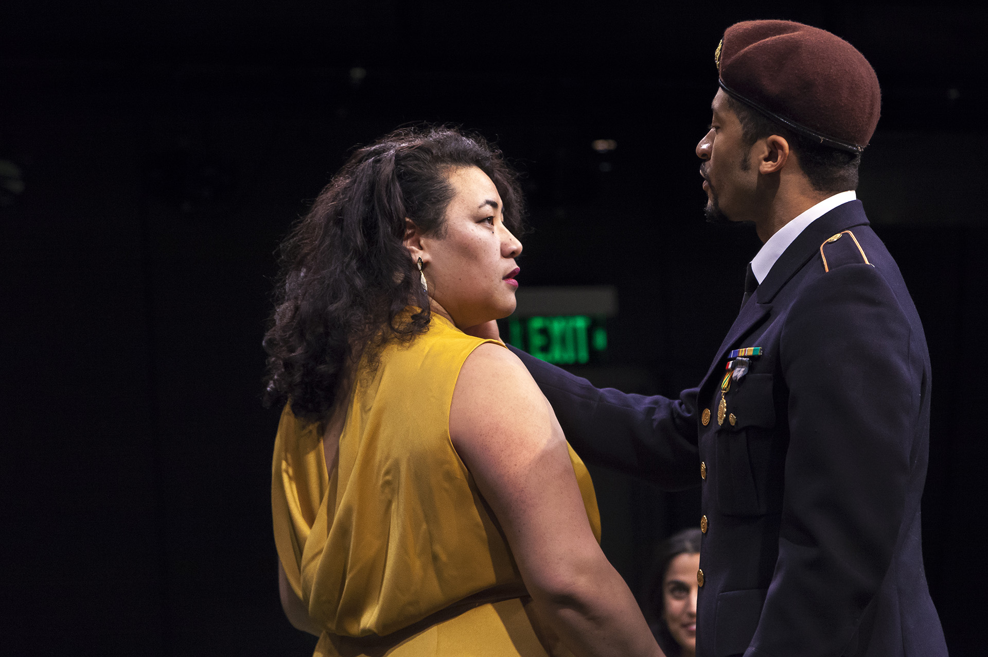 Patricia Fa'asua ('18) and Sean Boyce Johnson ('18) in MUCH ADO ABOUT NOTHING by William Shakespeare, directed by Jecamiah M. Ybañez ('19), Yale School of Drama, 2018. Photo by Brittany Bland ('19).