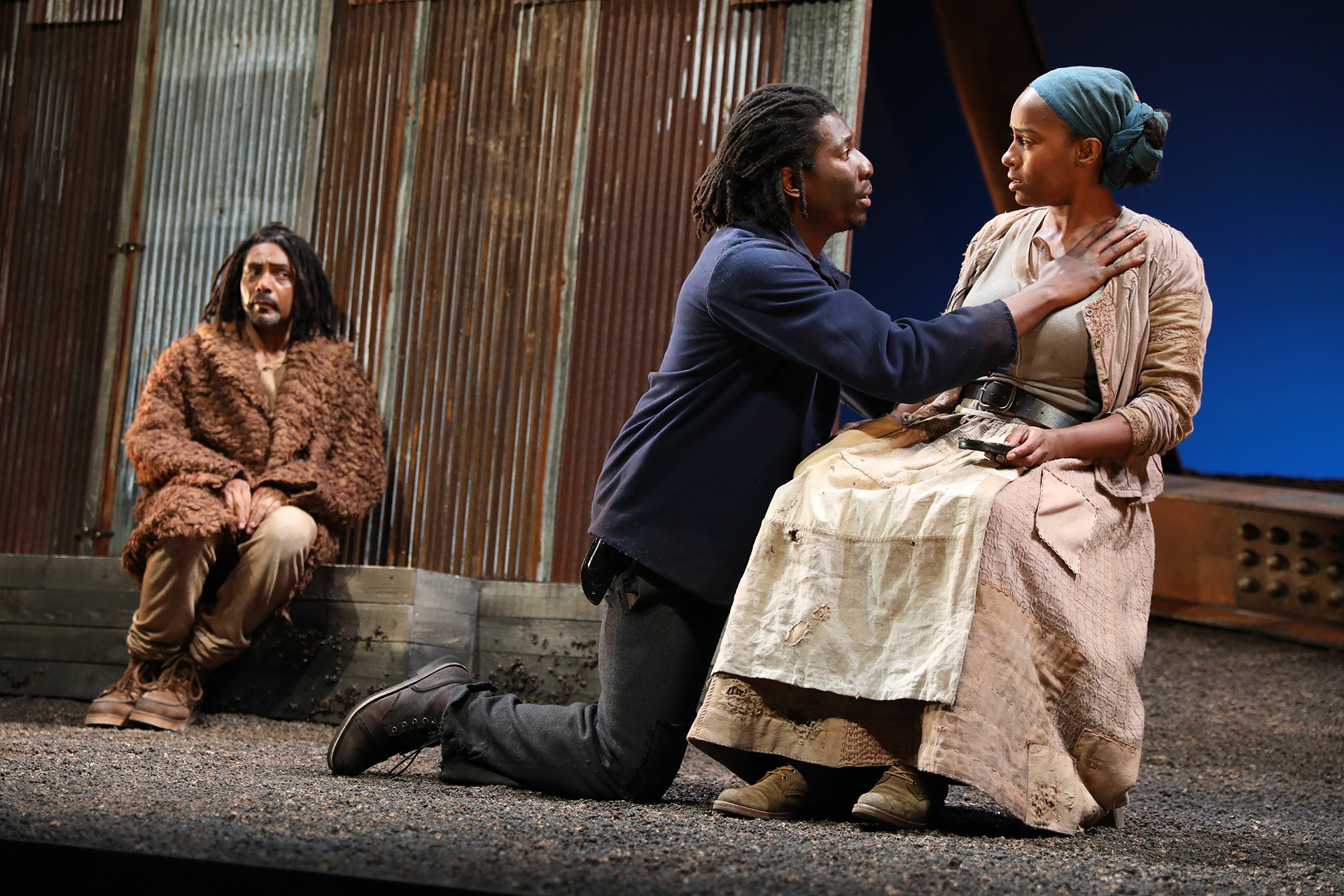 Gregory Wallace (Faculty), James Udom ('18), and Eboni Flowers in FATHER COMES HOME FROM THE WARS, PARTS 1, 2 & 3 by Suzan-Lori Parks, directed by Liz Diamond (Faculty), Yale Repertory Theatre, 2018. Photo by Joan Marcus.