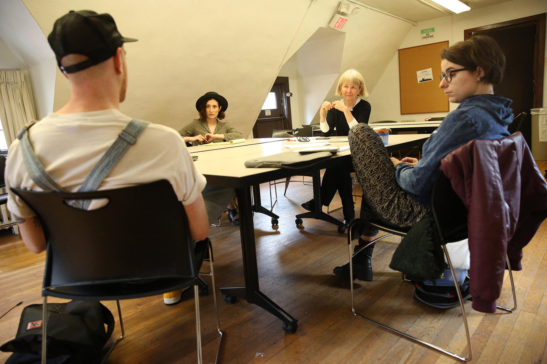 Liz Diamond, Chair, with students, Yale School of Drama, 2017. Photo by Joan Marcus.
