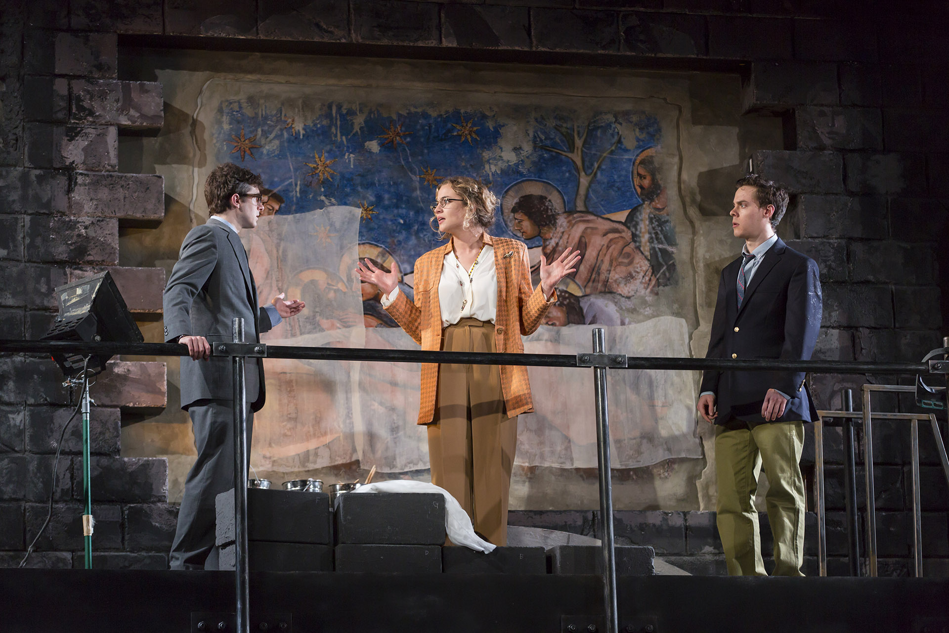 Patrick Madden ('18), Stella Baker ('18), and Steven Lee Johnson ('18) in PENTECOST by David Edgar, directed by Lucie Dawkins ('18), Yale School of Drama, 2017. Photo by T. Charles Erickson.