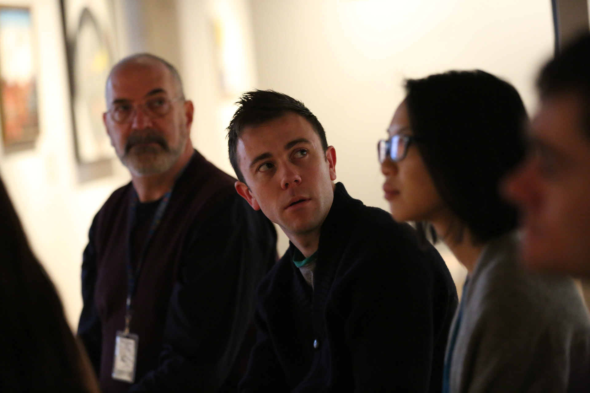 John Roberts (Sound Design Special Fellow), Hugh Farrell ('15), and Sally Shen (Theater Management, '15), Yale School of Drama, 2015. Photo by Joan Marcus.