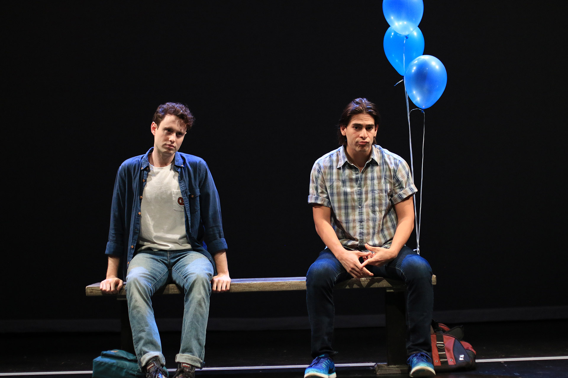 Patrick Foley ('18) and Arturo Soria ('19) in PERFECTLY TIMED PHOTOS TAKEN BEFORE A DISASTER by Alex Lubischer ('19), directed by Aneesha Kudtarkar ('19), dramaturgy by Michael Breslin ('19). Yale School of Drama, 2017. Photo by Elsa GibsonBraden ('20).