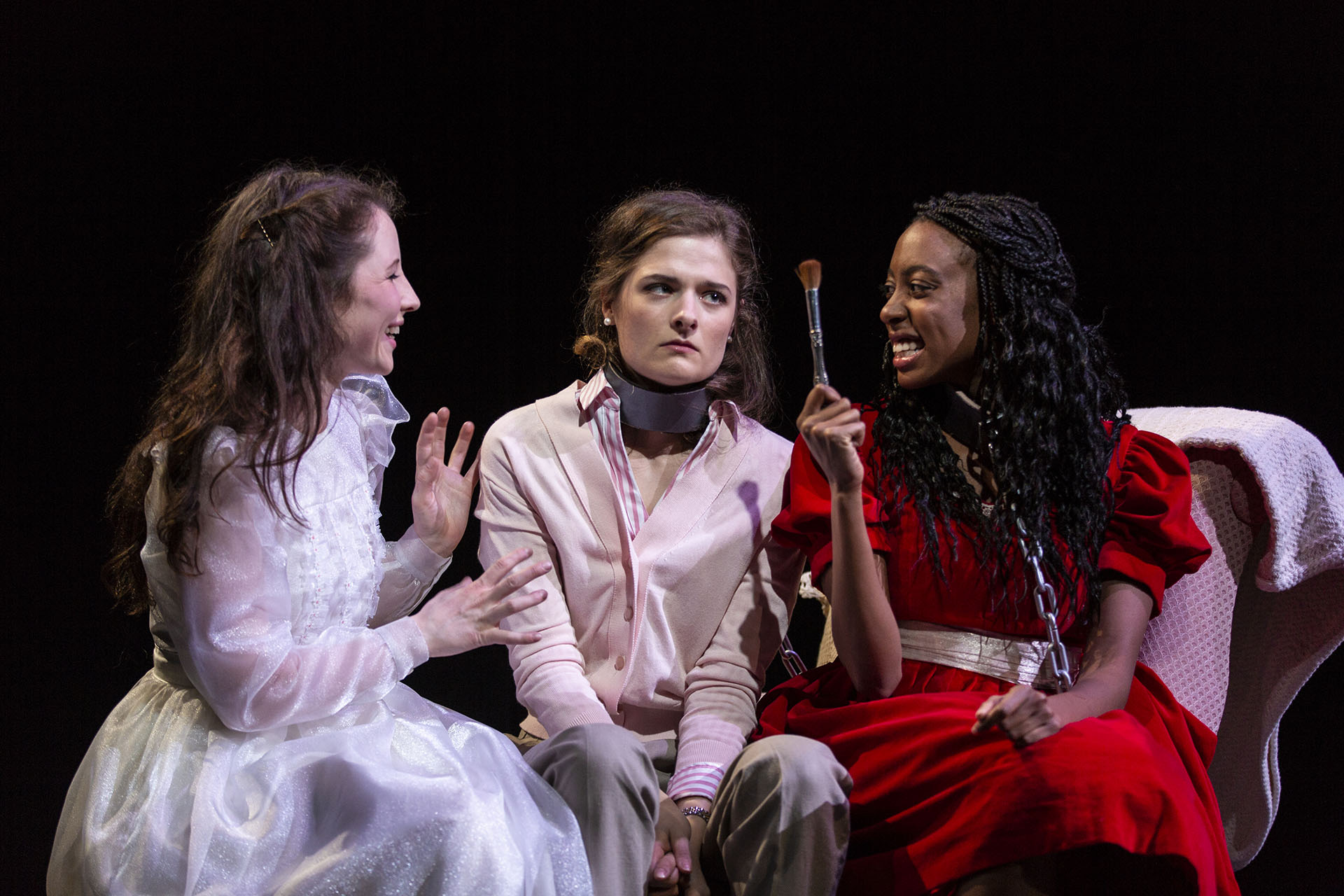 Doireann MacMahon ('20), Louisa Jacobson ('19), and Amandla Jahava ('19) in THE GIRL IS CHAINED by Genne Murphy ('18), directed by Shadi Ghaheri ('18), Carlotta Festival of New Plays, Yale School of Drama, 2018. Photo by T. Charles Erickson.