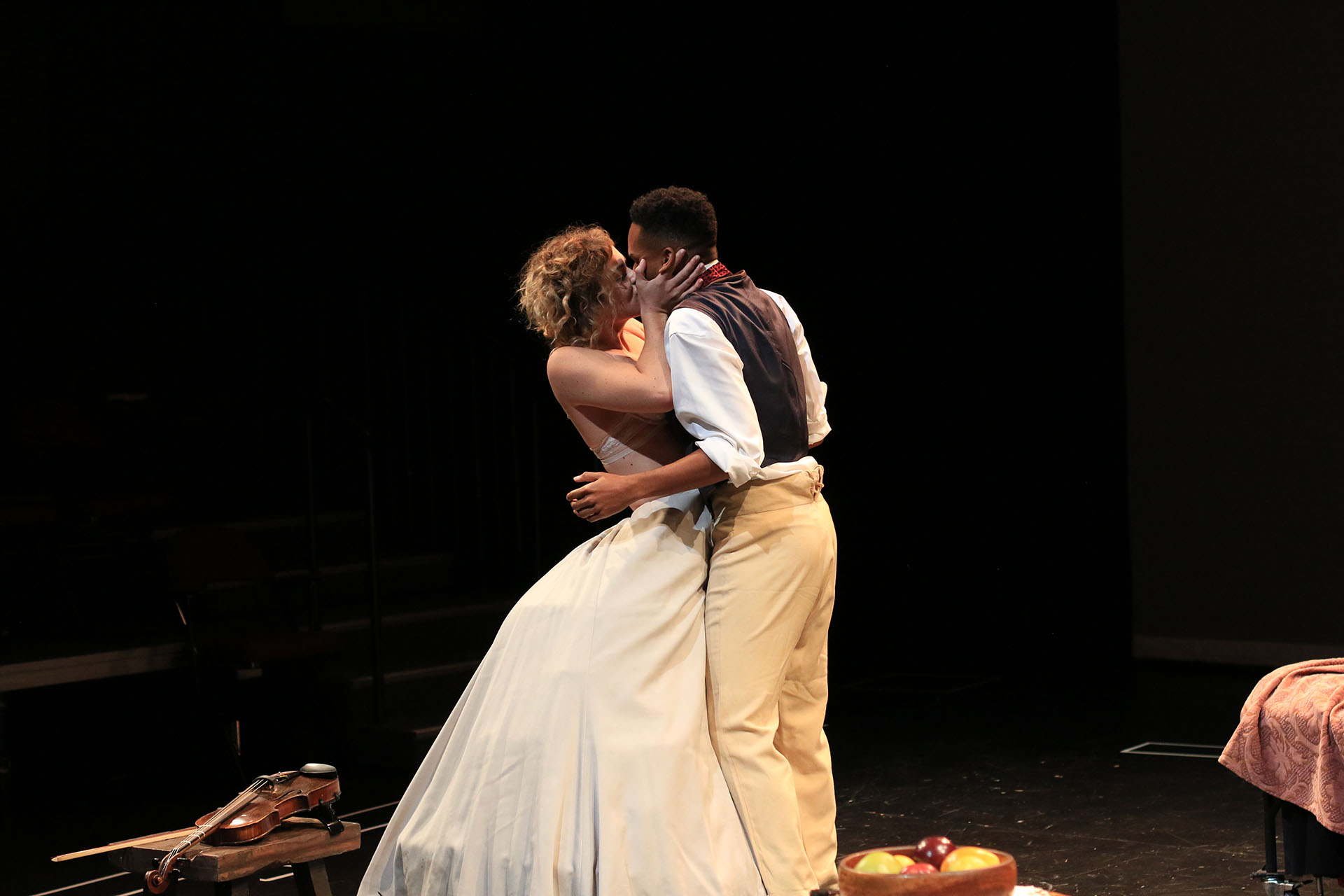 Marié Botha ('18) and Erron Crawford ('19) in SLAVE PLAY by Jeremy O. Harris ('19), directed by Em Weinstein ('19). Yale School of Drama, 2017. Photo by Elsa GibsonBraden ('20).