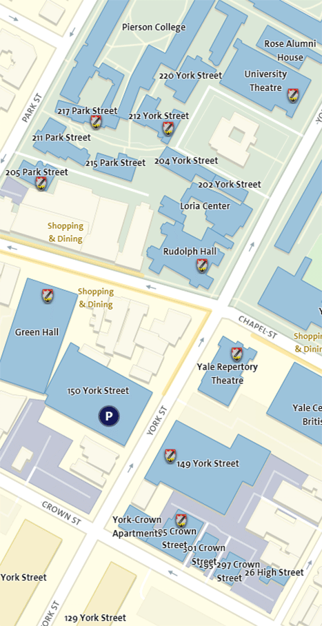 Image link to interactive map of Yale School of Drama Facilities (opens in new window)