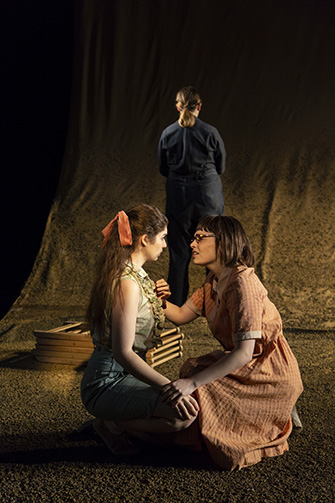 Evelyne Giovine ('19) and Juliana Aiden Martinez ('20) in TENT REVIVAL by Majkin Holmquist ('18), directed by Rory Pelsue ('18), Yale School of Drama, 2018. Photo by T. Charles Erickson.