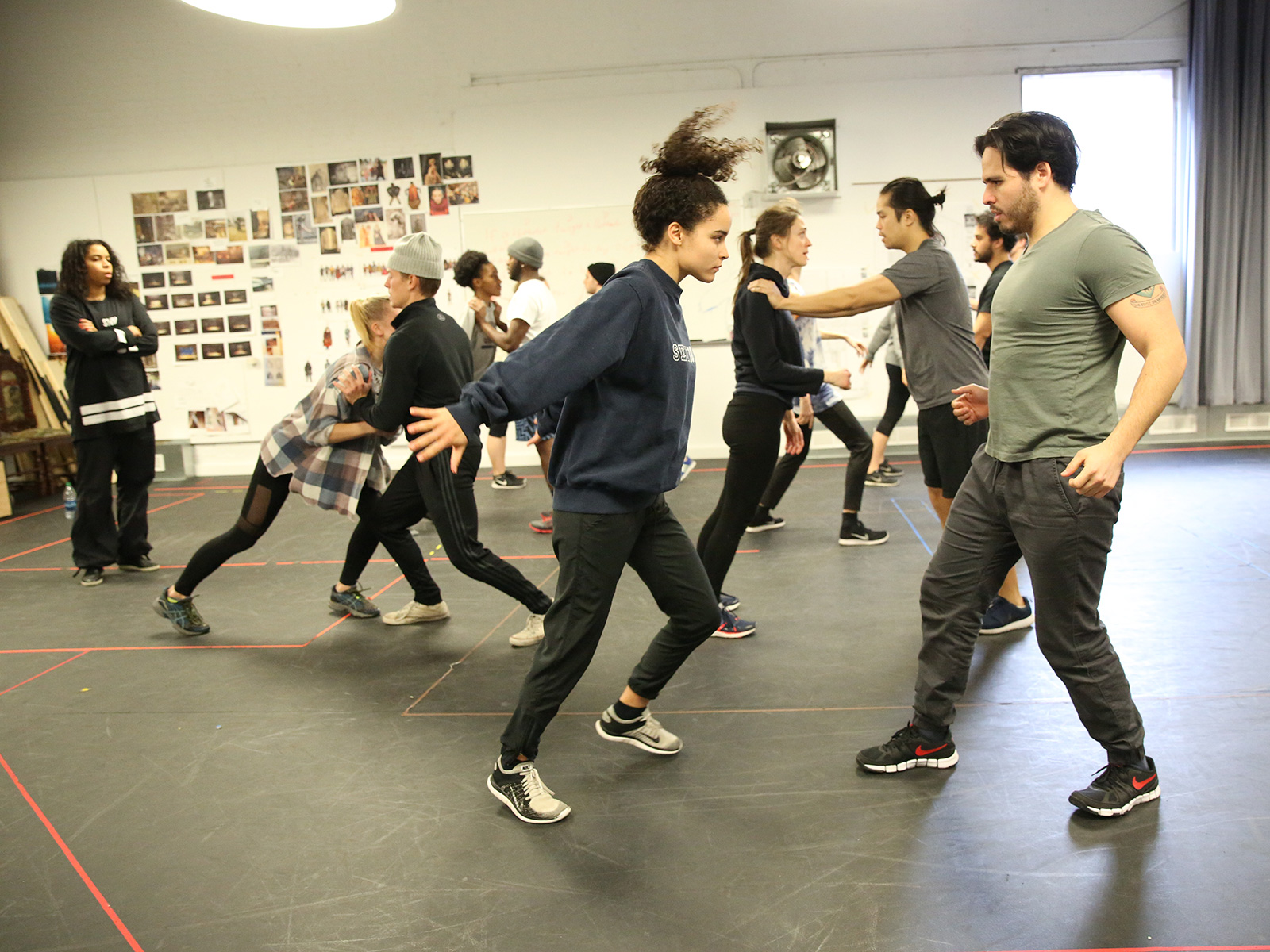 Juliana Canfield ('17) and Sebastian Arboleda ('17) in a Movement class in the Wendy Wasserstein Room at 149 York, Room 107.