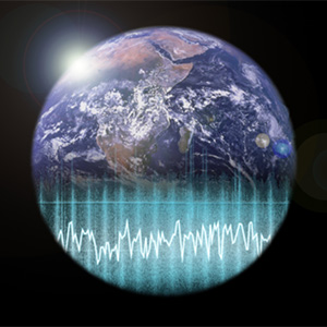 Picture of Earth with sound waves going across